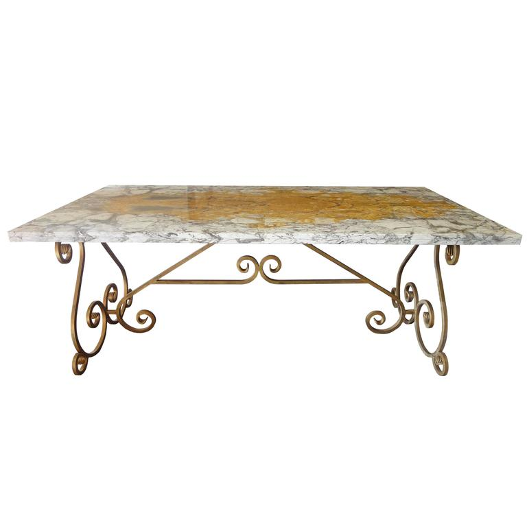 Italian style side table with marble top on base in for Wrought iron table bases marble top