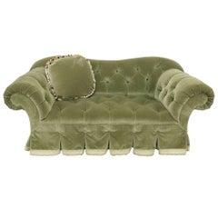 Green Velvet Tufted Loveseat