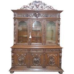 19th Century Carved Walnut China Cabinet