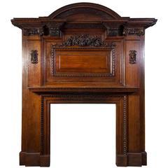 Large Antique Oak Fireplace