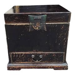 Incredible 19th or 20th Century Black Lacquered Asian Scroll Box
