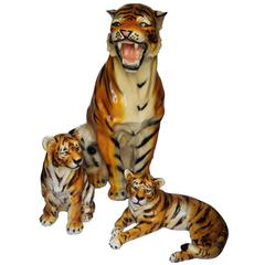 Impressive Mid-Century Sculptures of Big Tiger with Two Tiger Cups