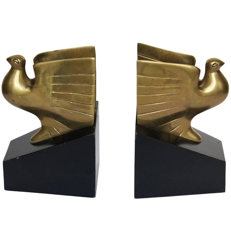 American Art Deco Pigeon Bookends, 1930s