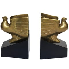 American Art Deco Pigeon Bookends, 1930s