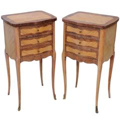 French Late 19th Century Dry Walnut and Satinwood Bedside Tables, circa 1880