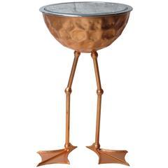 'Flamingo' Ice Bucket Side Table in Copper Leaf by Johntomjoe