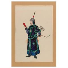 Late 18th Century Scene with Chinese Warrior Attributed to Puqua