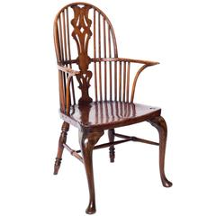 Antique English 18th Century George III Rustic High-Back Windsor Armchair