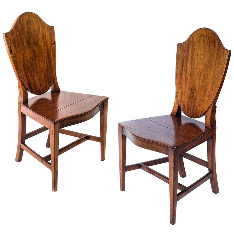 Pair of Antique 18th Century English Georgian Mahogany Country House Hall  Chairs 1 - Pair Of Antique 18th Century English Georgian Mahogany Country