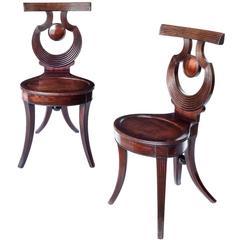 Fine Rare English Regency Period Mahogany Hall Chairs