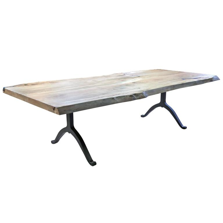 Sentient Signature Ambrosia Maple Live Edge Slab Table Steel Wishbone Legs
