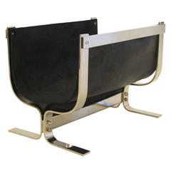 Chromed Steel and Leather Log Holder Style of Albrizzi, 1970s, USA