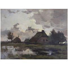 Theophile de Bock Farm House Landscape Oil Painting