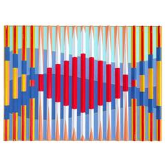 Graphic Martin Houk Three Dimensional Abstract Painting, 1978