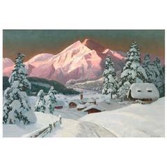 """Tyrol Morning Glow"" by Austrian Artist, Alois Arnegger"