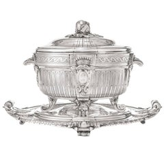 Silver Plate Soup Tureen and Cover with Matching Stand by Christofle, Paris