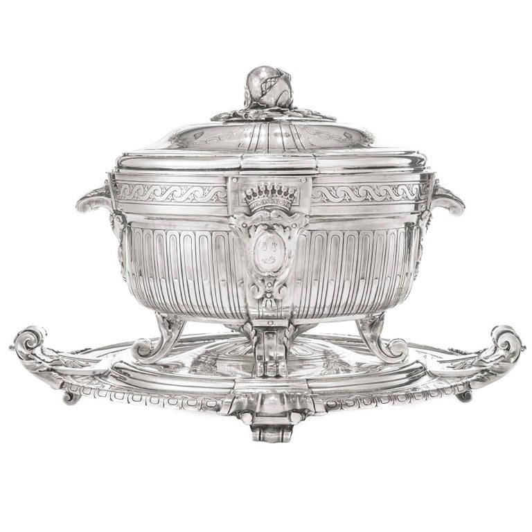 Silver Plate Soup Tureen and Cover with Matching Stand by Christofle, Paris For Sale