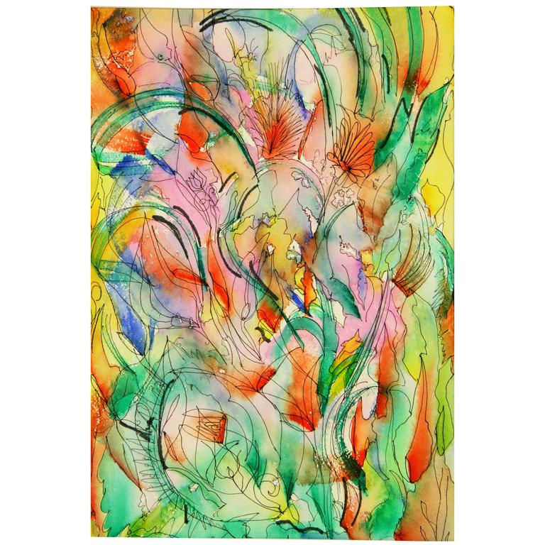 abstract ink watercolor painting for sale at 1stdibs