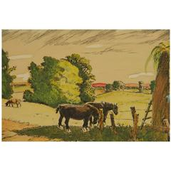Watercolor Painting -Out to Pasture
