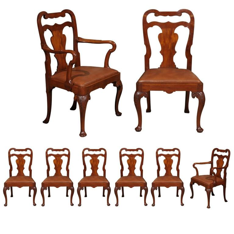 Set of Eight Queen Anne Style Mahogany Dining Chairs, Early 20th Century