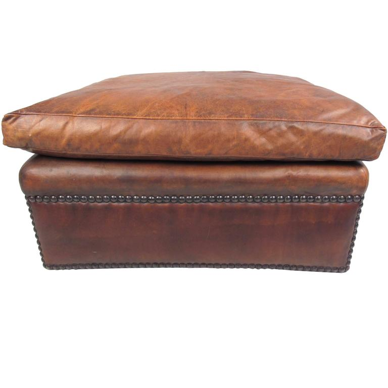 Mid-Century Style Leather Ottoman with Brass Studs