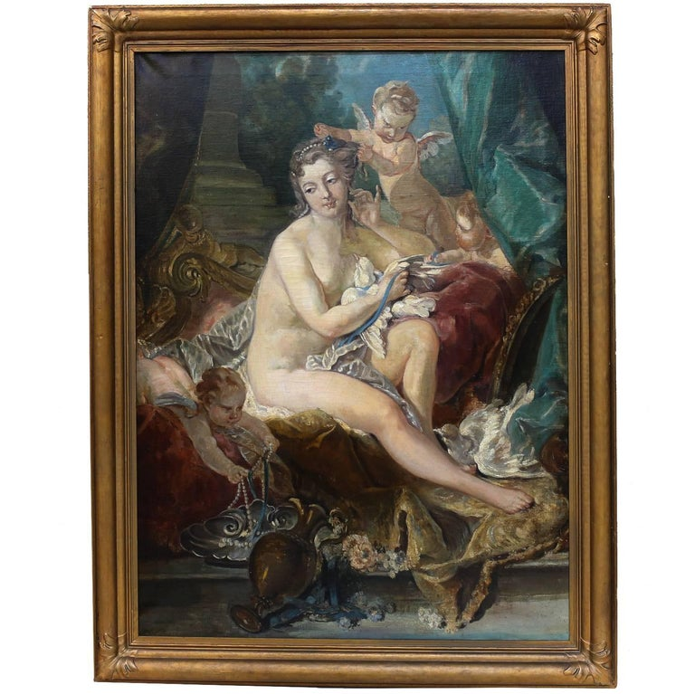 "19th Century Oil Painting ""The Toilette of Venus"" after Francois Boucher For Sale"