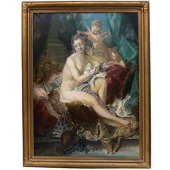"19th Century Oil Painting ""The Toilette of Venus"" after Francois Boucher"