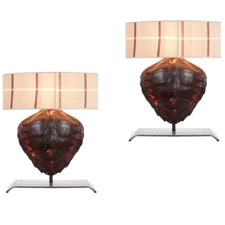 Pair Of Genuine Tortoiseshell Table Lamps On Custom Made Stands For