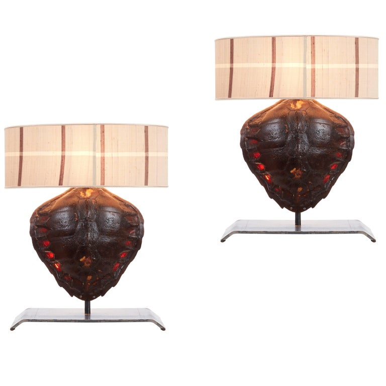 Pair of Genuine Tortoiseshell Table Lamps on Custom-Made Stands For Sale