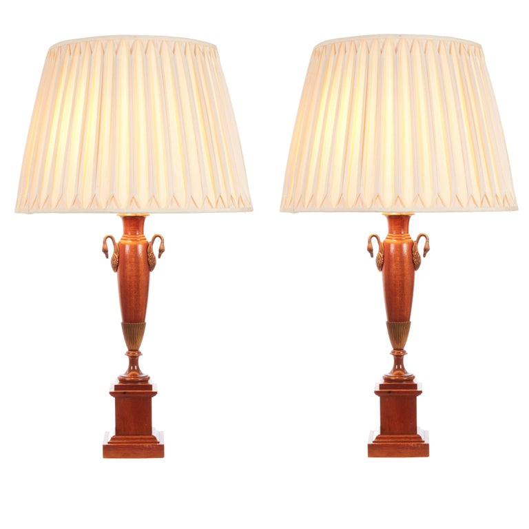 Pair of English Classical Greek Empire Revival Table Lamps For Sale