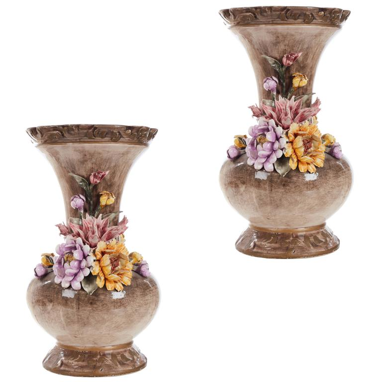 Large Pair Of Continental Ceramic Vases For Sale At 1stdibs