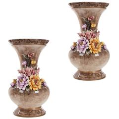 Large Pair of Continental Ceramic Vases