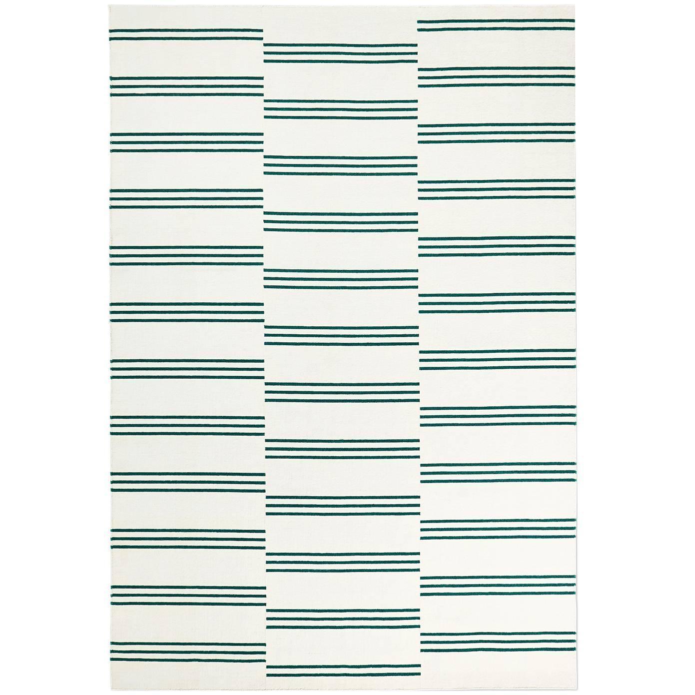 Modern Dhurrie Kilim Rug In Swedish Design Stripes Cream
