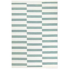 Modern Dhurrie/Kilim Rug in Swedish Design. Stripes Cream/Green 10'x14'.
