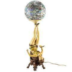 Art Deco Polychrome Figural Burlesque Dancer Lamp with Millefiori Shade