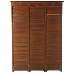 French Roll Top Cabinet Circa 1910 Having Three Vertical Tambour Doors