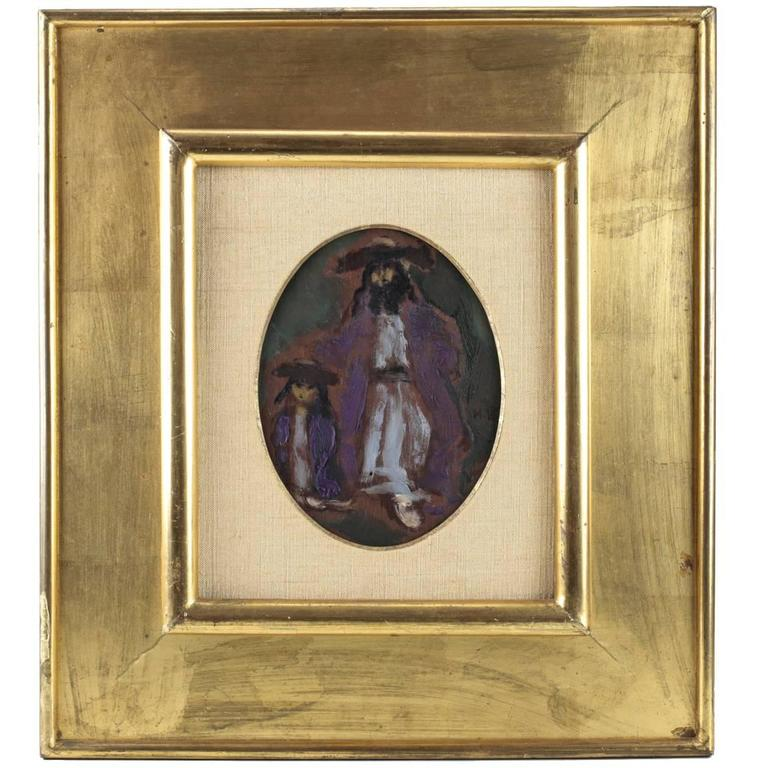 Expressionist Oil Painting of a Hasid and Son by Emmanuel Mané-Katz For Sale