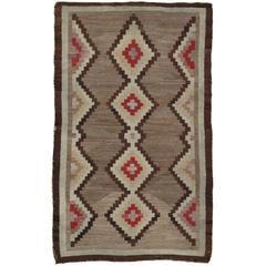 Antique Navajo Rug, Handmade Wool Oriental Rug, Beige and Brown