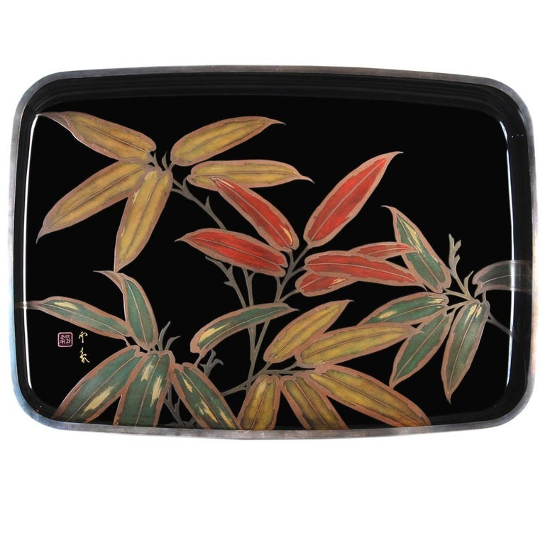 Japanese Black Lacquer Tray with Gold and Silver Maki-e, 20th Century