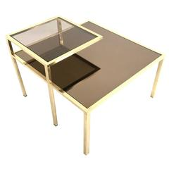 Squared Brass Coffee Table with a Glass Shelf and a Mirrored Top, Italy, 1980s
