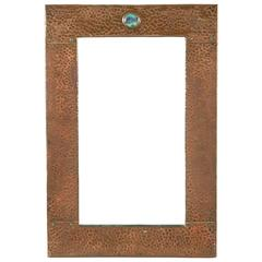 Arts and Crafts Copper and 'Ruskin' Plaque Mirror, Attributed to Liberty and Co