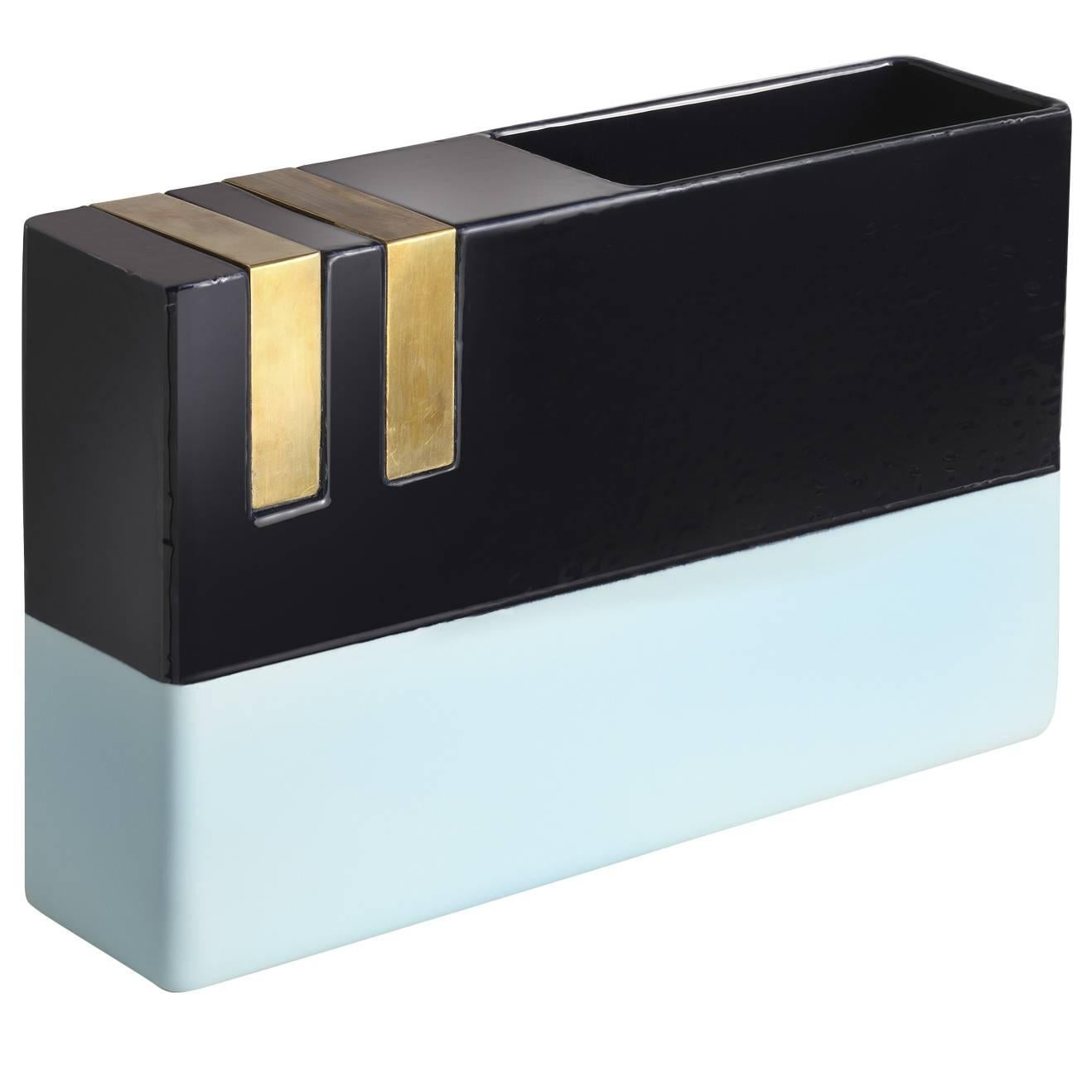 Blue and Brass Vase by DIMORESTUDIO