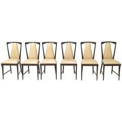 Set of Six Mahogany and Skai Chairs, style of Osvaldo Borsani, Italy, 1950s