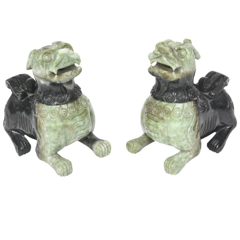 Mid-20th Century Pair of Chinese Carved Green Hardstone Foo Dogs / Lions For Sale