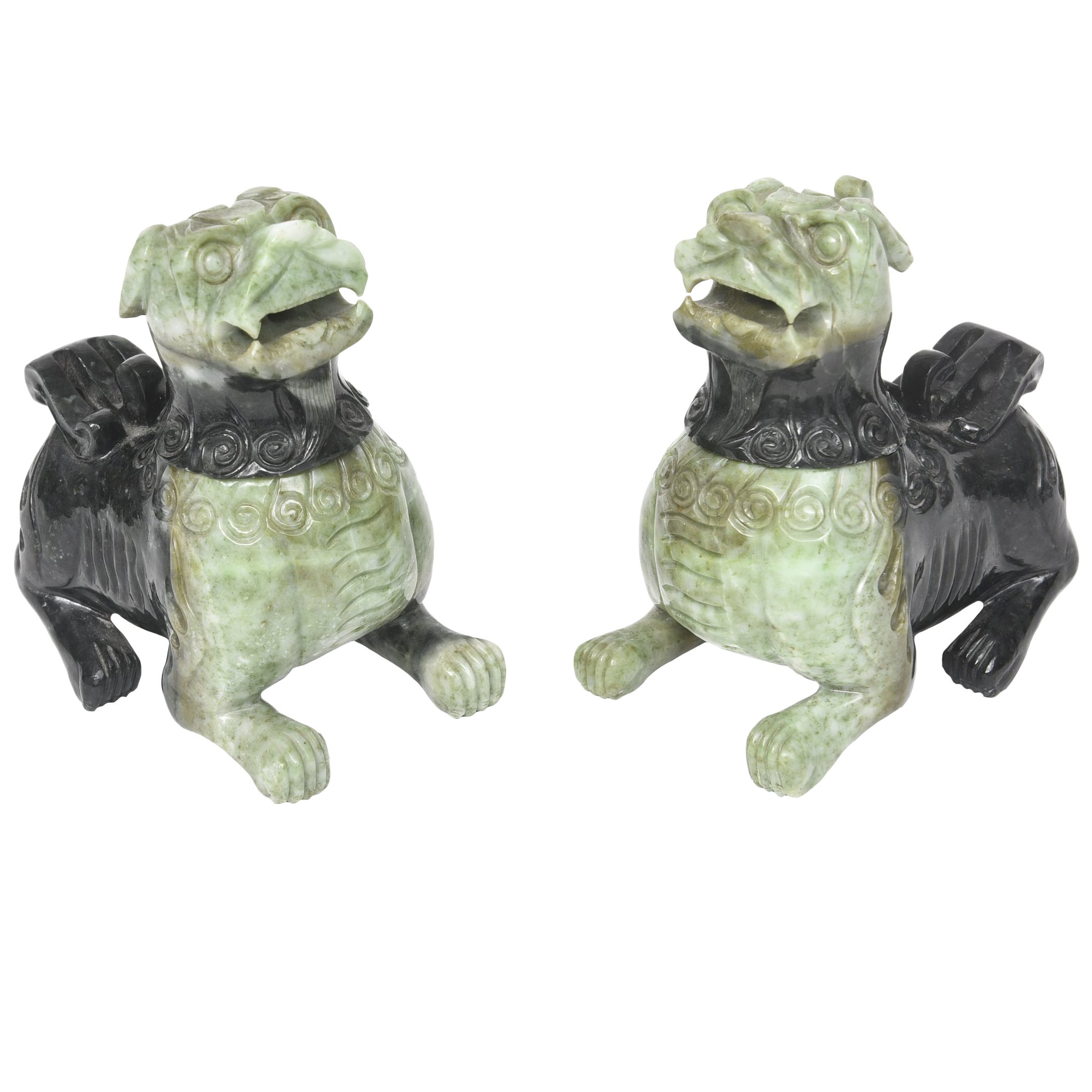 Mid-20th Century Pair of Chinese Carved Green Hardstone Foo Dogs / Lions