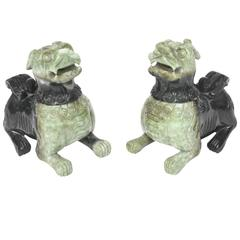 Mid-20th Century Pair of Chinese Carved Green Jade Foo Dogs / Lions Incense Burn
