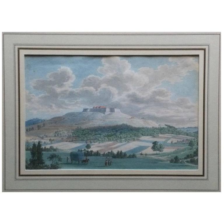 18th Century Italian Gouache Landscape with Castle Framed