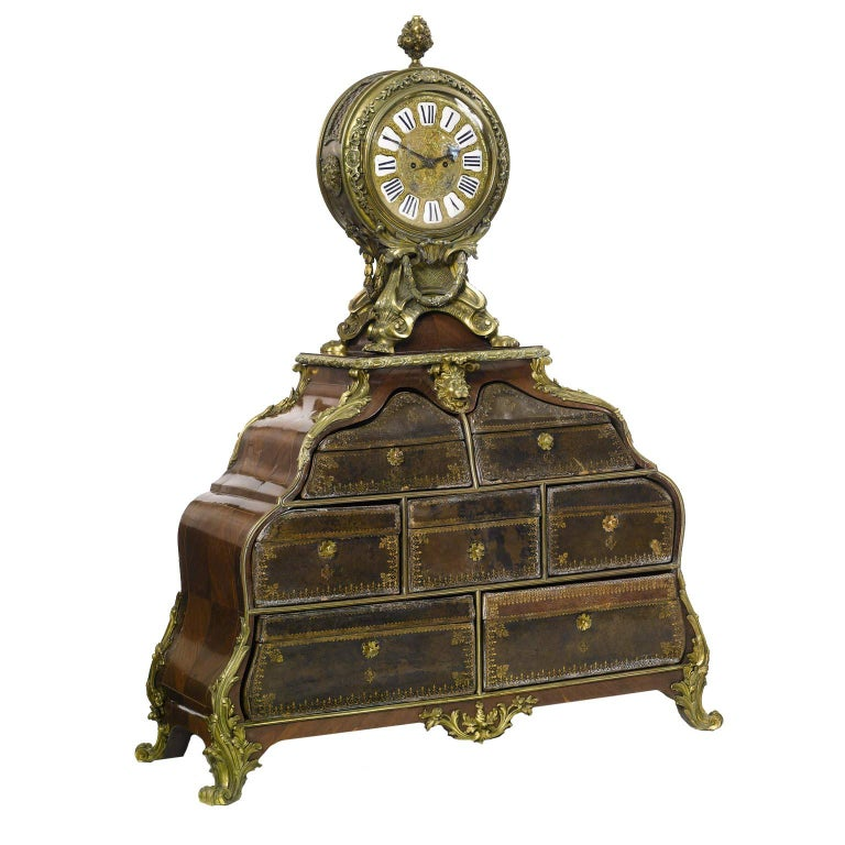 French 19th Century Louis XV Style Gilt-Bronze Mounted and Leather Cartonnier For Sale