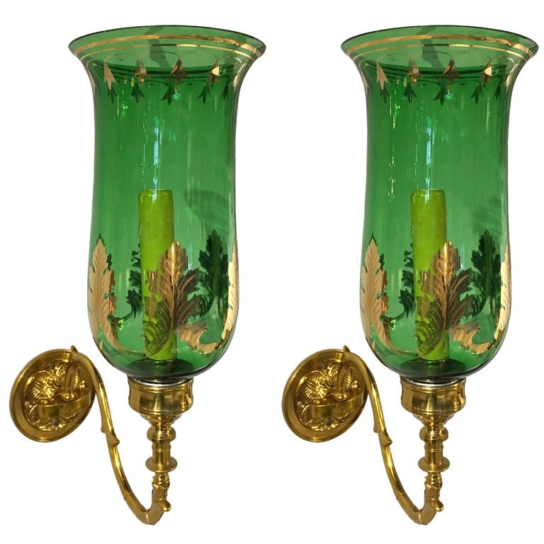 Pair of 1820 English Regency Green Glass and Brass Hurricane Sconces 1