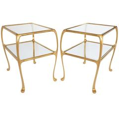 Pair of Gaudi Inspired Brass Two-Tier End Tables